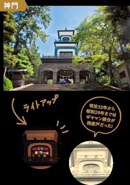 神門|明治32年から昭和29年まではギヤマン部分が桟唐戸だった!