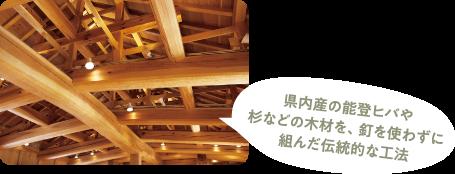 県内産の能登ヒバや杉などの木材を、釘を使わずに組んだ伝統的な工法